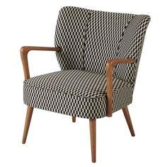 Sillón vintage con motivos gráficos en blanco y negro | Maisons du Monde Vintage Sofa, Poltrona Vintage, Living Furniture, Furniture Design, Muebles Living, Deco Design, Sofas, Armchairs, Accent Chairs