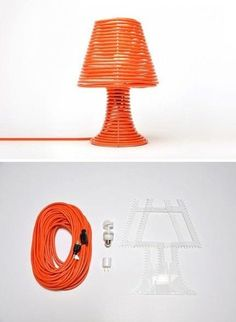 Table lamp using extension cord as the base and shade