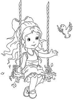 Cute Coloring Pages, Coloring Pages For Girls, Coloring For Kids, Coloring Books, Fairy Drawings, Pencil Art Drawings, Whimsy Stamps, Digi Stamps, Tinkerbell Drawing