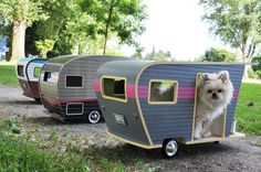Pet Camper is a house for small dogs by Vancouver-based company Straight Line Designs that's shaped like a classic car trailer, complete with wheels, Camping, Canis, Pet Trailer, Straight Line Designs, Dog Gadgets, Outdoor Dog Bed, Wakefield, Animal House, Dog Houses