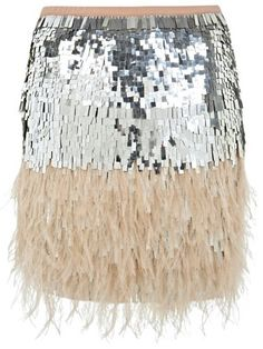 This feathered, sequined skirt goes hand in hand with a glass of champagne (or three!).