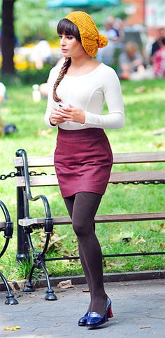 Glee Style and Fashion: Lea Michele wore the Marc by Marc Jacobs Brigitte Seamed Sweater filming scenes on the set of 'Glee' in New York City, New York on August 11, 2012.