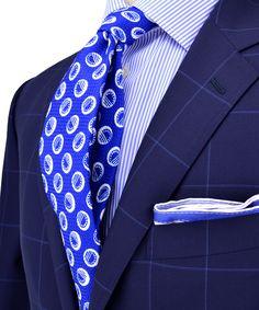 Belvest   Navy with Blue Windowpane Suit   Apparel   Men's