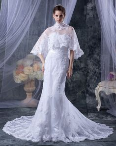Trumpet/Mermaid Sweetheart Sleeveless Chapel Train White Tulle Wedding Dress With Wrap WS1171