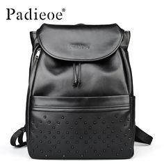 114.98$  Watch here - http://alip3t.worldwells.pw/go.php?t=32794043291 - Padieoe Black Top Grain Real Cow Leather Backpack New Fashion Rivet Women Backpack 2017 High Quality Backpacks for Teenage Girls 114.98$