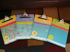 Cute idea for teacher appreciation; fancy clipboards.  Dollar Store clipboards + mod podge + scrapbooking paper.