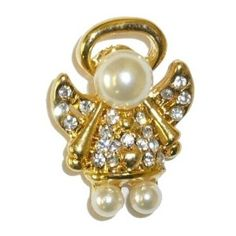 Inexpensive Angel Pins | Goldplated Crystal Pearl Head Angel Tac Pin review | buy, shop with ...