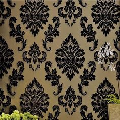 papel de parede wallpaper for walls 3d European Flock Non-woven Metallic Floral Damask Wallpaper roll Modern wall paper