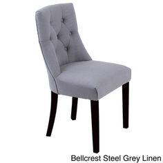 @Overstock.com.com - Bellcrest Button-tufted Upholstered Dining Chairs (Set of 2) - Create a more elegant look in your dining area or kitchen with this set of two stylish upholstered dining chairs with a dark walnut finish. Whether you choose chairs covered in leatherette or button-tufted linen, you'll love the comfort they provide.  http://www.overstock.com/Home-Garden/Bellcrest-Button-tufted-Upholstered-Dining-Chairs-Set-of-2/7984149/product.html?CID=214117 $187.19