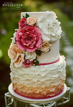 love the bright colors of this ombre floral wedding cake! ~  we ❤ this! moncheribridals.com