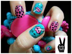 uñas caritas y leopardo rosa