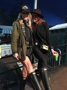 Suki Waterhouse and Stella McCartney at Glastonbury festival 2015 wearing exclusive personalised Hunter Original boots