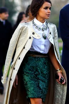 Mira Duma | Burberry metallic jacquard trench coat, Stella McCartney blouse and Burberry Prorsum sequin skirt