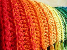 Somewhere Over the Rainbow Closeup beautiful crochet rib blanket Crochet Blanket Patterns, Knitting Patterns Free, Free Pattern, Crochet Blankets, Crochet Afghans, Scarf Patterns, Afghan Patterns, Rainbow Afghan, Rainbow Crochet