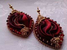 "EARRINGS ""RED VELVET"",silk ribbon shibori,red earrings,made in Italy, handmade jewelry,elegant earrings,fashionable earrings,silky waves"