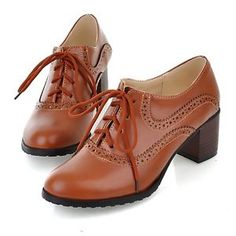 US4-11-Plus-sz-Brogue-Womens-Lace-Up-Oxfords-Retro-Mid-Chunky-Heels-Wing-Tip