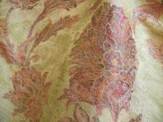 "100% SILK LAMPAS LARGE PEONY PAISLEY ""FIRETHORN"" RED"