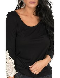 Rock & Roll Cowgirl Women's Black with Cream Crochet Detailing on 3/4 Sleeves Casual Knit Top | Cavender's