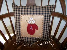 Primitive Snowman Pillow Winter Mitten Snow by wvluckygirl on Etsy, $14.99