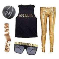 Ballin in Balmain!  All black & gold everything.  BALLIN PARIS muscle tee by ALEX & CHLOE.  Shop now at WWW.ALEXANDCHLOE.COM