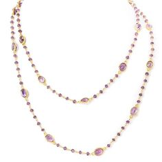 Felix And Lola Felix & Lola By Rivka Friedman 14k Over Silver Amethyst... ($125) ❤ liked on Polyvore featuring jewelry, necklaces, multiple colors, amethyst stone necklace, 14 karat gold necklace, 14k necklace, multi colored necklace and long necklaces