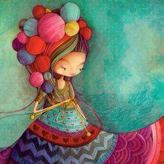 girl with yarn