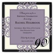 Decorative Square Border Eggplant 90th Birthday Invitations