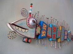 Bone Fish, MADE to ORDER, Original Found Object Wall Sculpture, Wood Carving, Wall Decor, by Fig Jam Studio