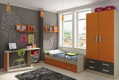 Composición juvenil con cama nido, armario, escritorio y estanterías Deskontalia Productos - Descuentos del 70%