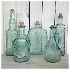 Vintage mint green glass bottles