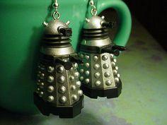 Old School Doctor Who Silver Daleks Earrings by chgallery on Etsy, $28.00