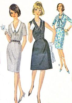 1960s Dress Pattern Simplicity 5889 Collared V Neck by paneenjerez, $10.00