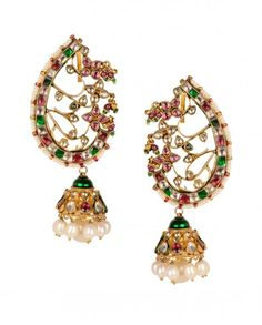 Jhumka Earrings with Multicolored Stones