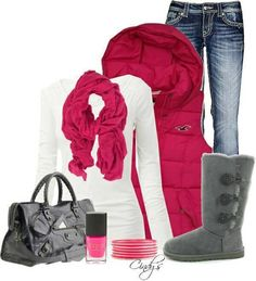 Cute. Although I would change the vest to navy blue or black and use my neon green scarf. :)
