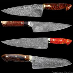 Bob Kramer Knives, 14 month waiting list for one of these, sell for 500 dollars and inch. Beautiful Sharpest knife you can buy... TopChef-Tech.blogspot.com