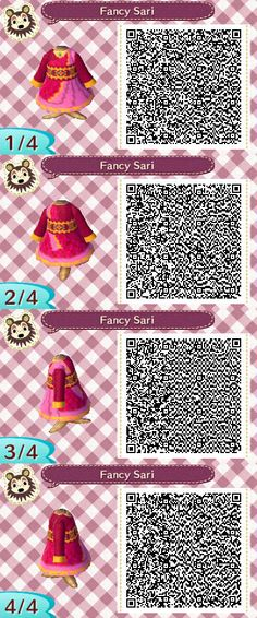 Fancy Sari QR code for Animal Crossing New Leaf. This dress is based on the tea party outfit for the Nahji doll in the Hearts for Hearts Girls doll series. http://ecx.images-amazon.com/images/I/41LTttsn6BL.jpg