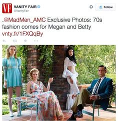"""""""Mad Men"""" returns for its final season April 5 and as Vanity Fair notes in a new style gallery of the show's stars, '70s fashion is in full effect. Sally Draper is going high off the knee hemline-wise, Megan is rocking some rock star ruffles and Betty's dresses are getting drapier and more relaxed. Producers have yet to reveal much in the way of plot details for Season 7."""