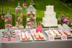 Let's do all white & glass platters/stands for the dessert table. The color will come from the desserts & flowers.