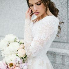 modest wedding dress with long sleeves from alta moda bridal.