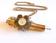 Bullet Necklace / Brass Bullet Jewelry / Real Bullet Ammo Casing / Flower Accent Crystal Tip / Long Chain by FunkyMaMaJewelry on Etsy