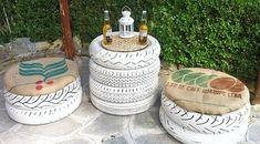 Móveis externos de artesanato com pneus