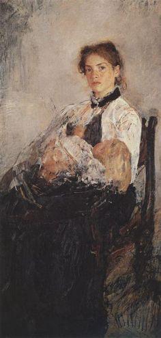 Portrait of Nadezhda Derviz with Her Child, Valentin Serov, 1888-1889