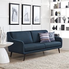 Take a break and enjoy the plush elegance of this Modway Verve sofa. The charming mid-century feel of this sofa is enhanced by the simplistic design and espresso-stained rubberwood legs. This large so Eclectic Living Room, Living Room Sofa, Living Room Furniture, Home Furniture, Living Room Decor, Furniture Design, Furniture Outlet, Living Rooms, Online Furniture