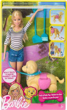 Shop Barbie Walk & Potty Pup at Best Buy. Mattel Barbie, Barbie Dolls Diy, Barbie Fashionista Dolls, Diy Barbie Clothes, Barbie Doll House, Baby Dolls, Little Girl Toys, Toys For Girls, Barbie Chelsea Doll