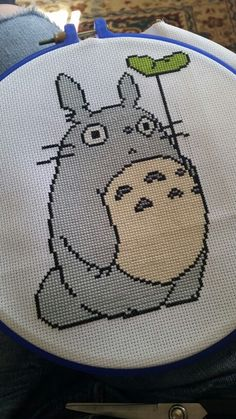 Totoro cross stitch as a belated birthday present. So much grey Pokemon Cross Stitch, Cross Stitch Art, Cross Stitch Designs, Cross Stitching, Cross Stitch Embroidery, Embroidery Patterns, Hand Embroidery, Cross Stitch Patterns, Totoro