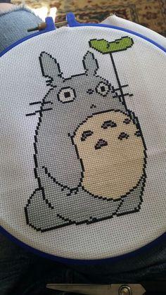 Totoro cross stitch as a belated birthday present. So much grey