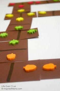 Do your kids like math?  Ever tried any fun math games?   Cool Math Games with DIY Fall Dominos - B-InspiredMama.com #kids #math #learning #kbn #binspiredmama #math