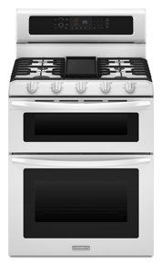 Whirlpool Gold Series 30 Inch Freestanding Double Oven Electric Range with 5 Sealed Burners, cu. Capacity, Self Cleaning, Automatic Oven Light and Sabbath Mode in White Double Oven Electric Range, Gas And Electric Ranges, Dual Oven, Kitchenaid Architect Series, New Oven, Cast Iron Griddle, Laundry Appliances, Gas Stove