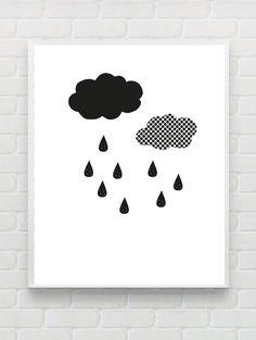 Printable Nursery Print Clouds Art Print Instant by Designsbyritz