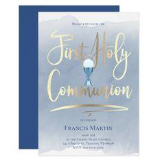 FAUX gold foil script   First Communion Invitation   Zazzle.com